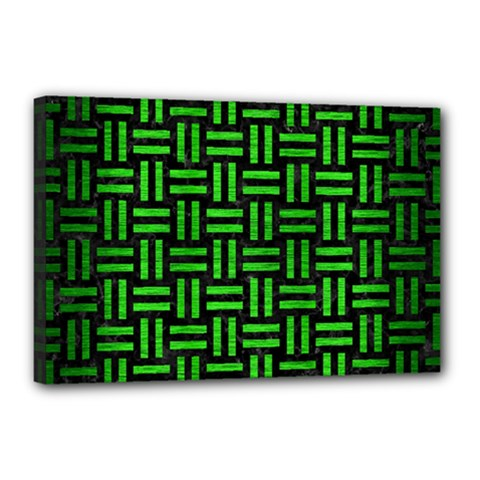Woven1 Black Marble & Green Brushed Metal Canvas 18  X 12