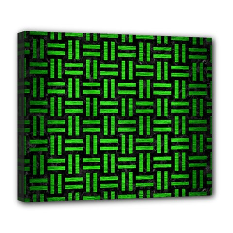 Woven1 Black Marble & Green Brushed Metal Deluxe Canvas 24  X 20