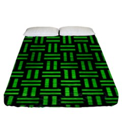 Woven1 Black Marble & Green Brushed Metal Fitted Sheet (king Size)