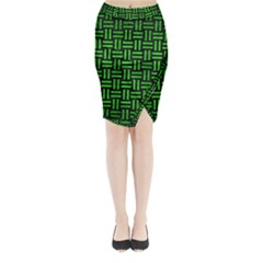 Woven1 Black Marble & Green Brushed Metal Midi Wrap Pencil Skirt