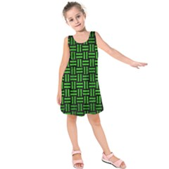 Woven1 Black Marble & Green Brushed Metal Kids  Sleeveless Dress