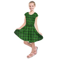 Woven1 Black Marble & Green Brushed Metal Kids  Short Sleeve Dress