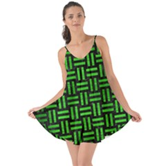 Woven1 Black Marble & Green Brushed Metal Love The Sun Cover Up