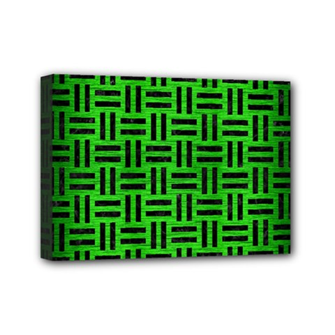 Woven1 Black Marble & Green Brushed Metal (r) Mini Canvas 7  X 5