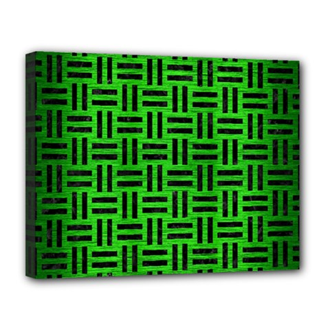 Woven1 Black Marble & Green Brushed Metal (r) Canvas 14  X 11