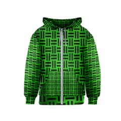 Woven1 Black Marble & Green Brushed Metal (r) Kids  Zipper Hoodie