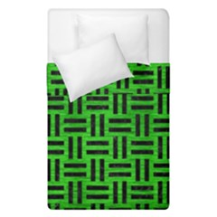 Woven1 Black Marble & Green Brushed Metal (r) Duvet Cover Double Side (single Size)