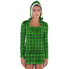 Woven1 Black Marble & Green Brushed Metal (r) Long Sleeve Hooded T Shirt