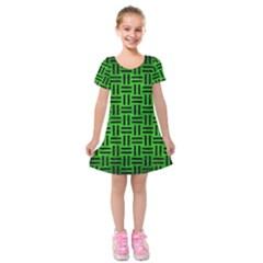 Woven1 Black Marble & Green Brushed Metal (r) Kids  Short Sleeve Velvet Dress