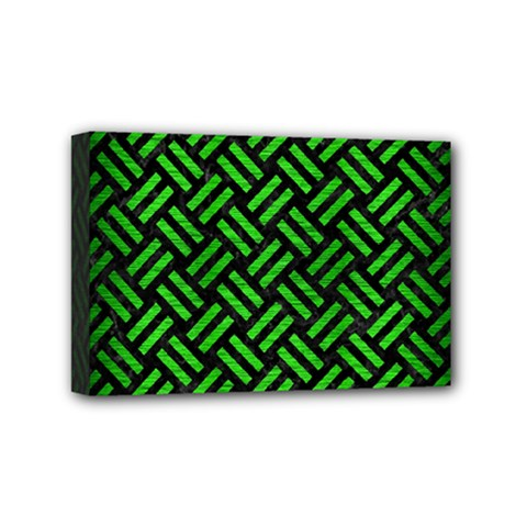 Woven2 Black Marble & Green Brushed Metal Mini Canvas 6  X 4