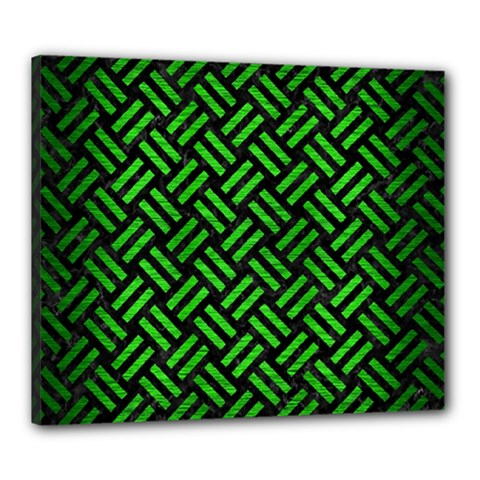 Woven2 Black Marble & Green Brushed Metal Canvas 24  X 20