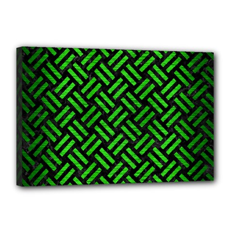 Woven2 Black Marble & Green Brushed Metal Canvas 18  X 12