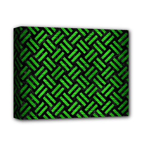 Woven2 Black Marble & Green Brushed Metal Deluxe Canvas 14  X 11
