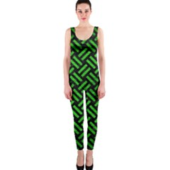 Woven2 Black Marble & Green Brushed Metal Onepiece Catsuit