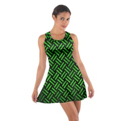 Woven2 Black Marble & Green Brushed Metal Cotton Racerback Dress