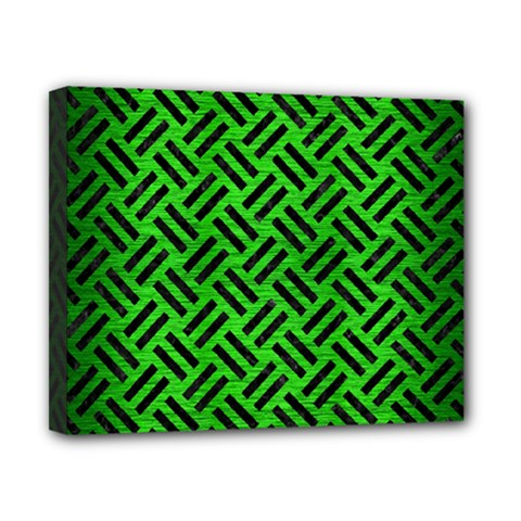 Woven2 Black Marble & Green Brushed Metal (r) Canvas 10  X 8