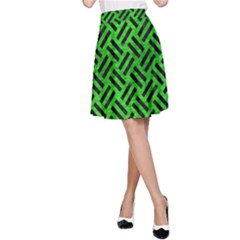 Woven2 Black Marble & Green Brushed Metal (r) A Line Skirt