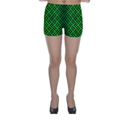 Woven2 Black Marble & Green Brushed Metal (r) Skinny Shorts