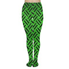 Woven2 Black Marble & Green Brushed Metal (r) Women s Tights