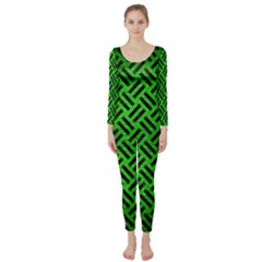 Woven2 Black Marble & Green Brushed Metal (r) Long Sleeve Catsuit