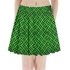 Woven2 Black Marble & Green Brushed Metal (r) Pleated Mini Skirt