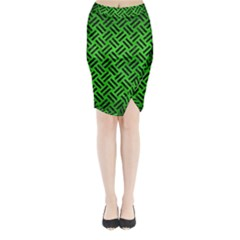Woven2 Black Marble & Green Brushed Metal (r) Midi Wrap Pencil Skirt