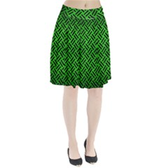 Woven2 Black Marble & Green Brushed Metal (r) Pleated Skirt