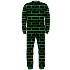 Brick1 Black Marble & Green Colored Pencil Onepiece Jumpsuit (men)