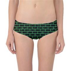 Brick1 Black Marble & Green Colored Pencil Classic Bikini Bottoms