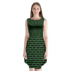 Brick1 Black Marble & Green Colored Pencil Sleeveless Chiffon Dress