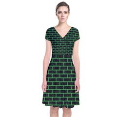 Brick1 Black Marble & Green Colored Pencil Short Sleeve Front Wrap Dress