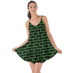 Brick1 Black Marble & Green Colored Pencil Love The Sun Cover Up