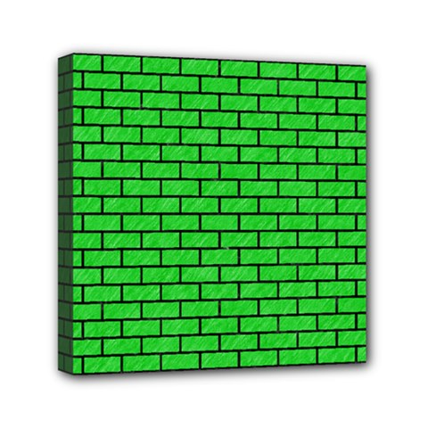 Brick1 Black Marble & Green Colored Pencil (r) Mini Canvas 6  X 6
