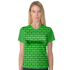 Brick1 Black Marble & Green Colored Pencil (r) V Neck Sport Mesh Tee