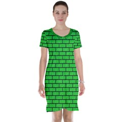 Brick1 Black Marble & Green Colored Pencil (r) Short Sleeve Nightdress
