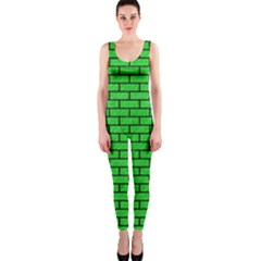Brick1 Black Marble & Green Colored Pencil (r) Onepiece Catsuit