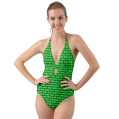 Brick1 Black Marble & Green Colored Pencil (r) Halter Cut Out One Piece Swimsuit
