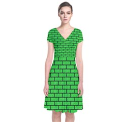 Brick1 Black Marble & Green Colored Pencil (r) Short Sleeve Front Wrap Dress
