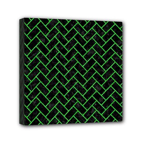 Brick2 Black Marble & Green Colored Pencil Mini Canvas 6  X 6