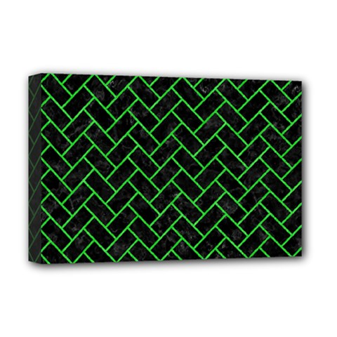 Brick2 Black Marble & Green Colored Pencil Deluxe Canvas 18  X 12