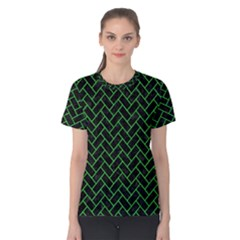Brick2 Black Marble & Green Colored Pencil Women s Cotton Tee