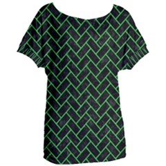 Brick2 Black Marble & Green Colored Pencil Women s Oversized Tee