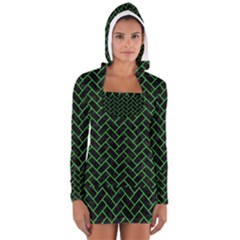 Brick2 Black Marble & Green Colored Pencil Long Sleeve Hooded T Shirt