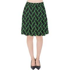 Brick2 Black Marble & Green Colored Pencil Velvet High Waist Skirt