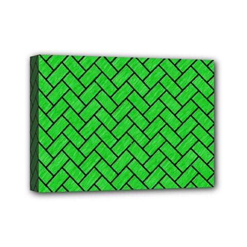 Brick2 Black Marble & Green Colored Pencil (r) Mini Canvas 7  X 5