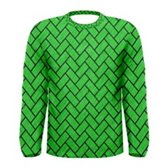 Brick2 Black Marble & Green Colored Pencil (r) Men s Long Sleeve Tee