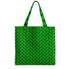 Brick2 Black Marble & Green Colored Pencil (r) Zipper Grocery Tote Bag