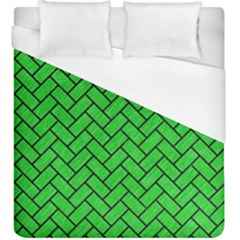 Brick2 Black Marble & Green Colored Pencil (r) Duvet Cover (king Size)
