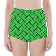 Brick2 Black Marble & Green Colored Pencil (r) High Waisted Bikini Bottoms