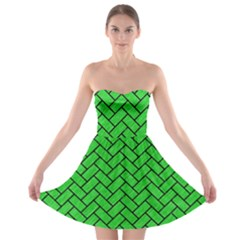 Brick2 Black Marble & Green Colored Pencil (r) Strapless Bra Top Dress